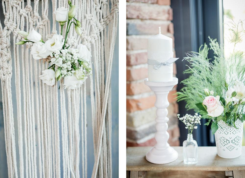 Détails décoration de mariage bohème