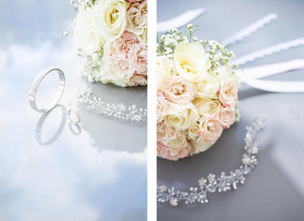Détails des bijoux et du bouquet de la mariée