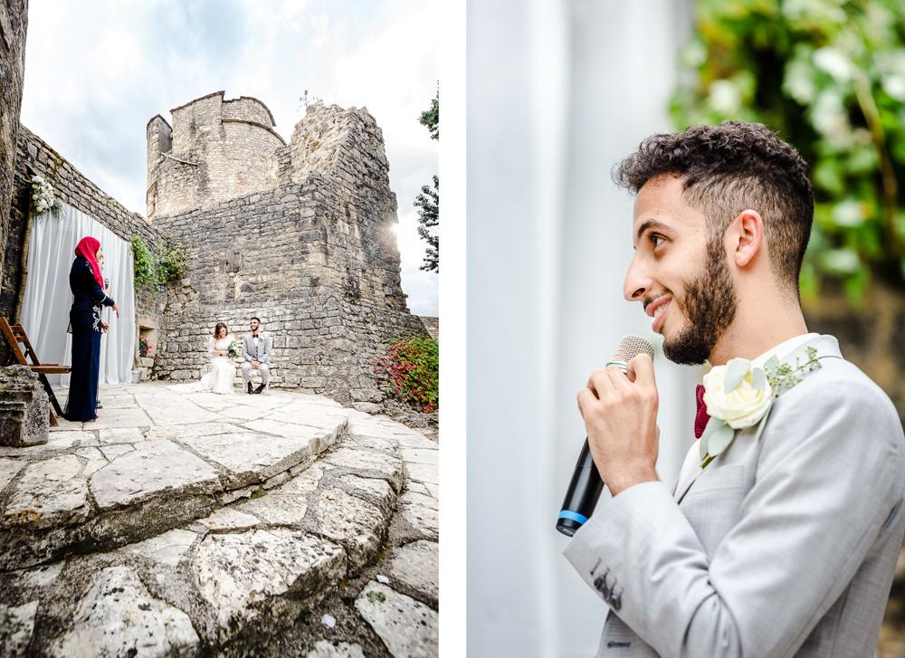 discours du marié au château de Roussillon