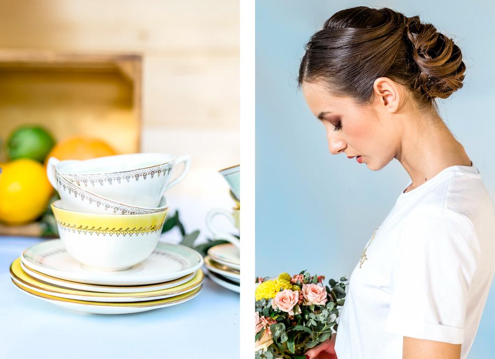Vaisselle et portrait de la mariée