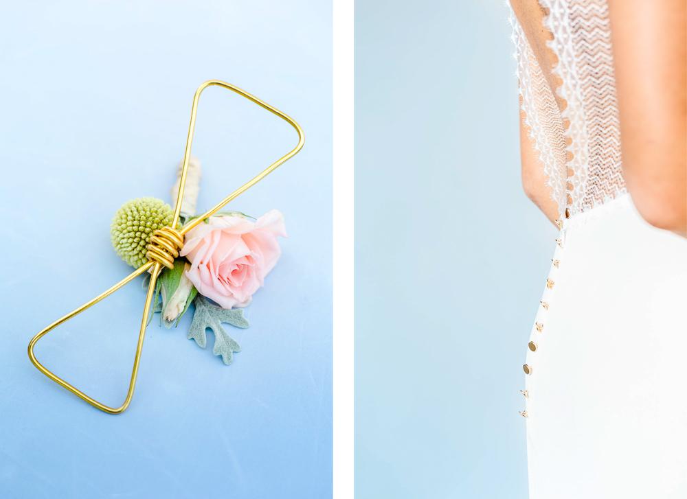 Détails de la boutonnière et la robe de mariée