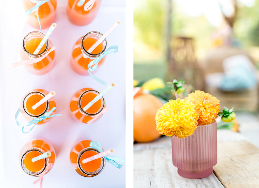 Cocktails et fleurs acidulés