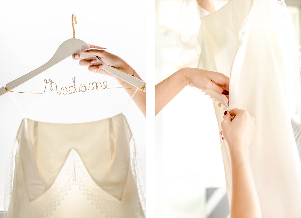 "Robe de mariée et cintre ""Madame"""