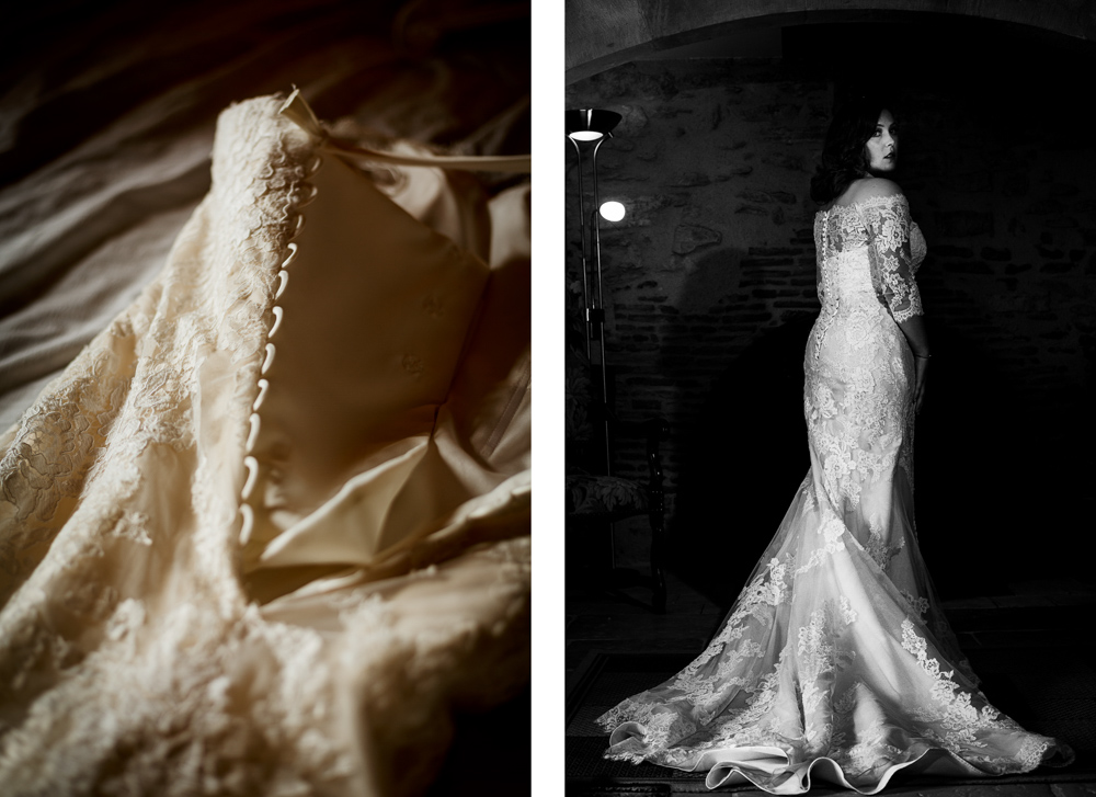 portrait de la mariée au château de Roussillon