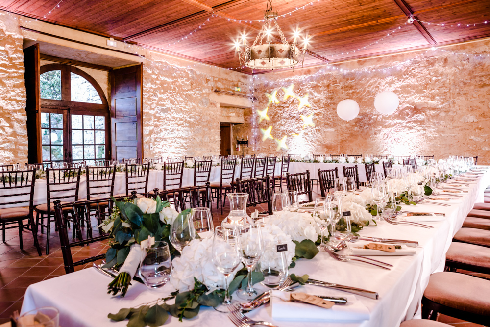 décoration de table au château de Roussillon